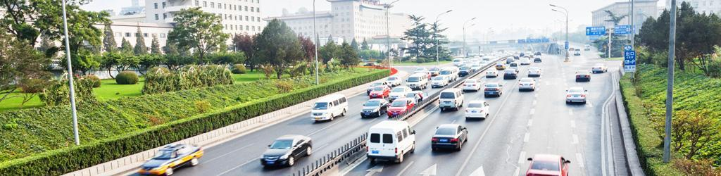 Image of traffic on multi-lane freeway to represent Motor Vehicle-Related Injury Prevention